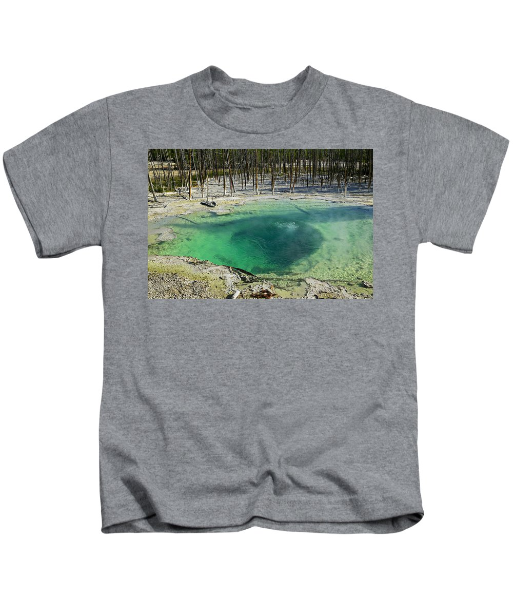 Hot Springs Yellowstone Midway Hot Springs Yellowstone Hot Kids T-Shirt featuring the photograph Hot Springs Yellowstone National Park by Garry Gay