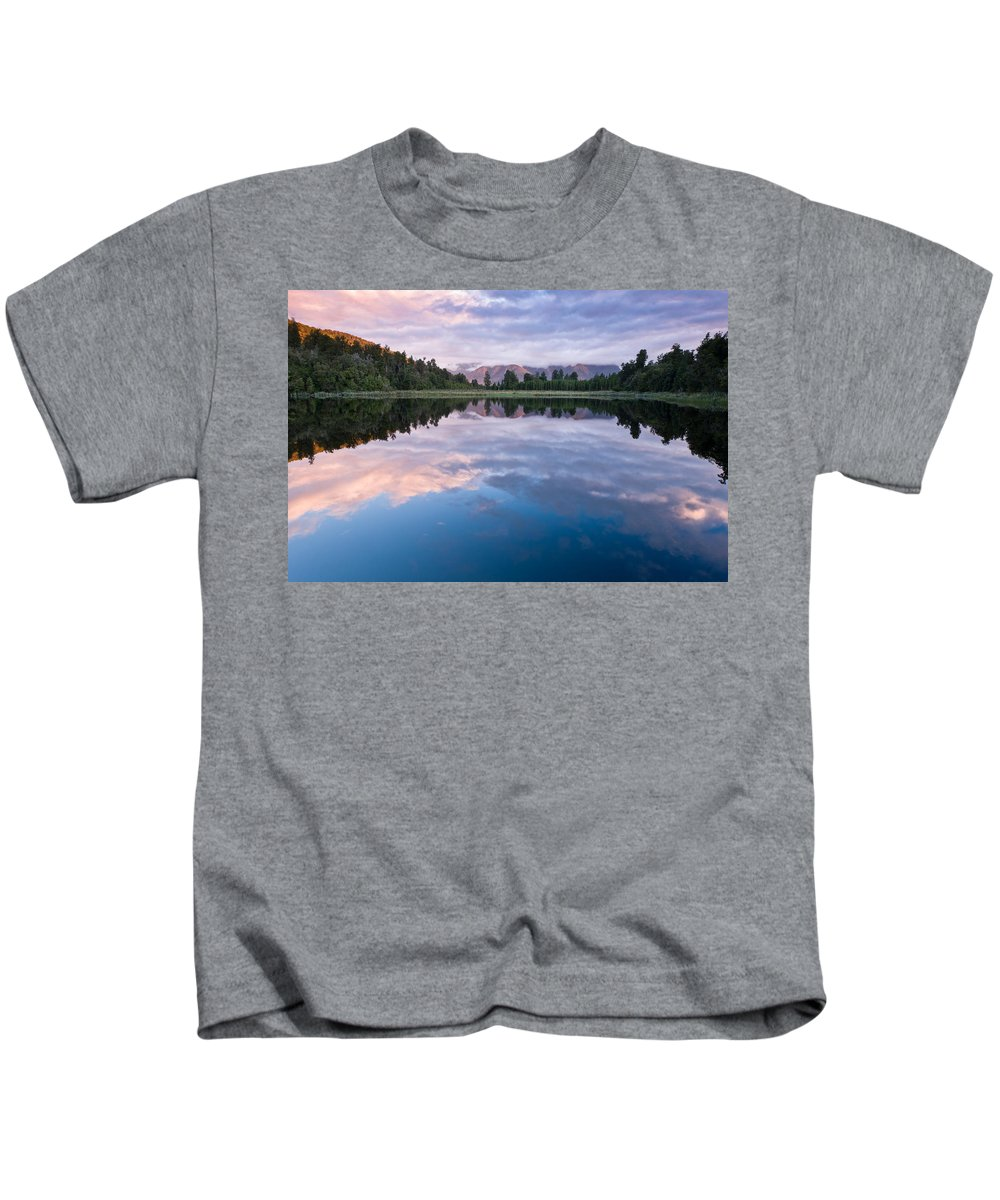 Background Kids T-Shirt featuring the photograph Lake Matheson by U Schade