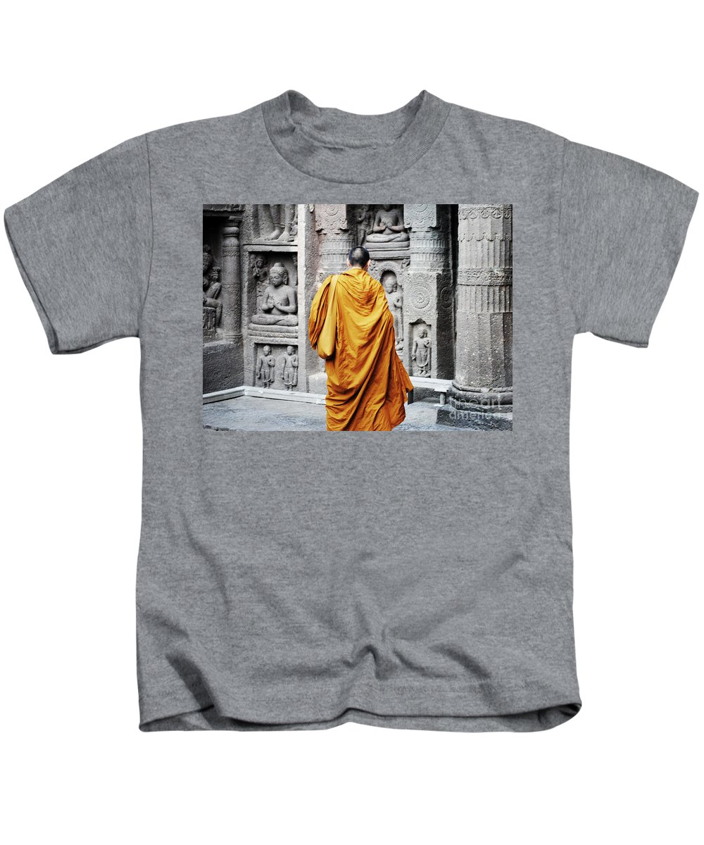 Caves Kids T-Shirt featuring the painting Monk At Ajanta Caves India by Sumit Mehndiratta