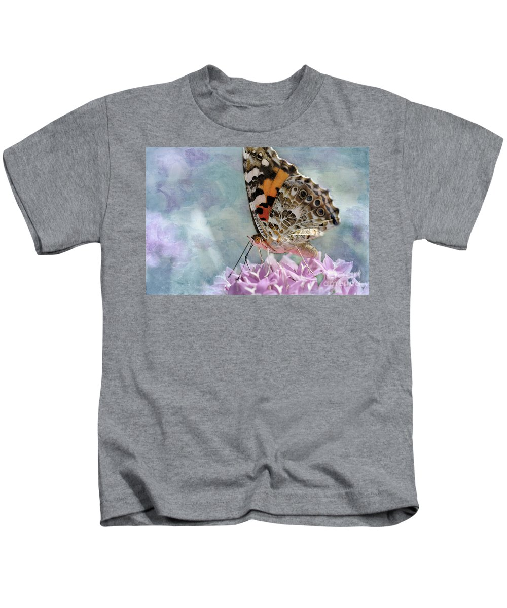 Butterfly Kids T-Shirt featuring the photograph Painted Lady Butterfly by Betty LaRue
