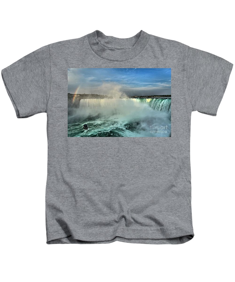 Niagara Falls State Park Kids T-Shirt featuring the photograph Rainbow Over The Maid by Adam Jewell