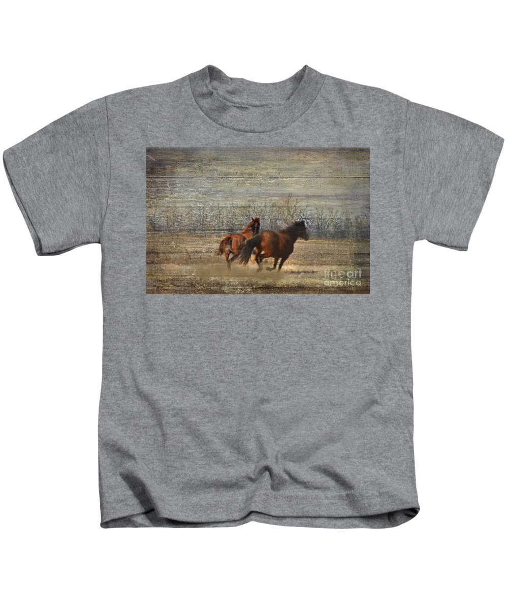 Animals Kids T-Shirt featuring the photograph Running Free by Debbie Portwood