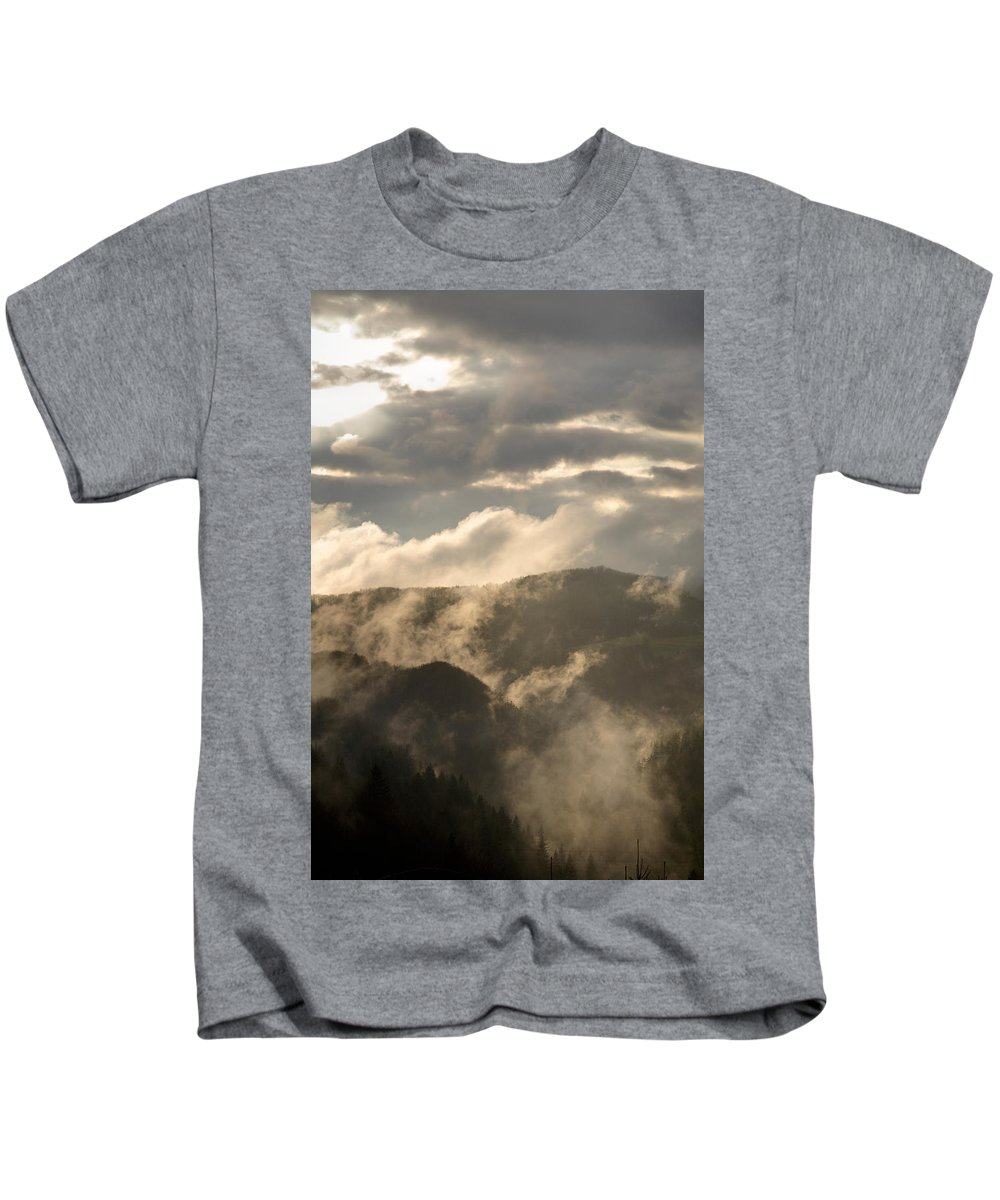 Storm Kids T-Shirt featuring the photograph Storm Clouds Gather Over Mountains by Ian Middleton
