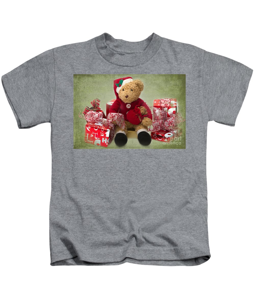 Teddy Kids T-Shirt featuring the photograph Teddy At Christmas by Louise Heusinkveld