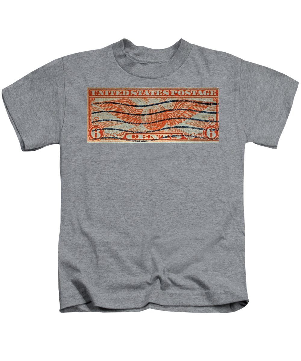 1934 Kids T-Shirt featuring the photograph 1934 U. S. Air Mail Dull Orange Stamp by Bill Owen