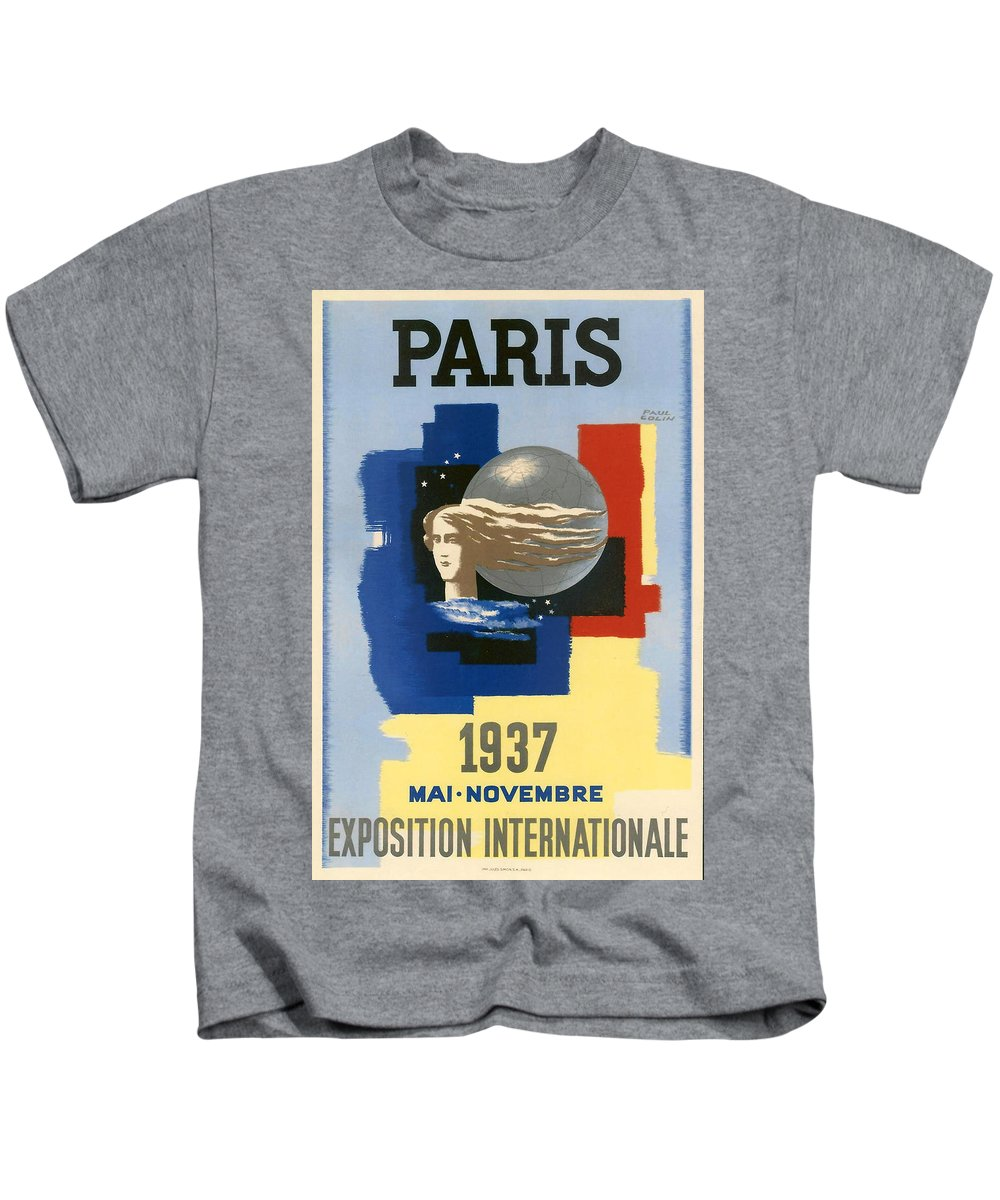 1937 Paris Exposition Kids T-Shirt featuring the digital art 1937 Paris Exposition by Georgia Fowler