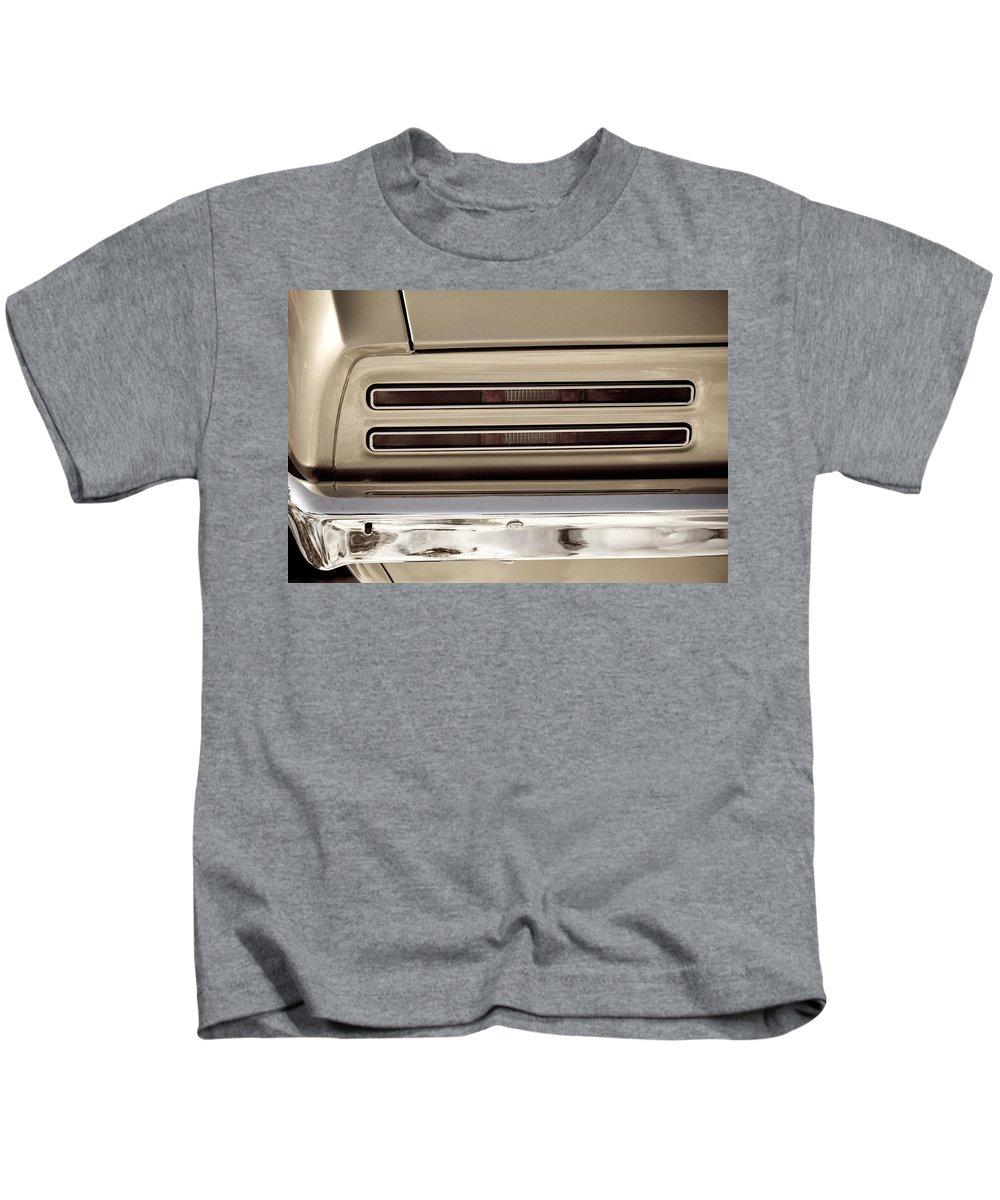 Automobiles Kids T-Shirt featuring the photograph 1967 Pontiac Firebird Back Lights Close Up by James BO Insogna