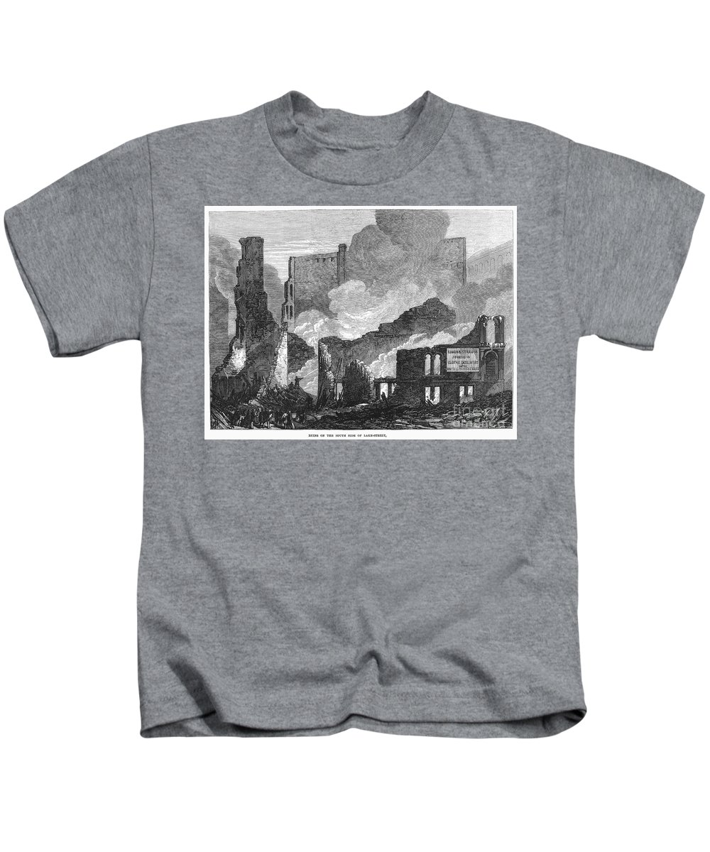 1871 Kids T-Shirt featuring the photograph Chicago: Fire, 1871 by Granger