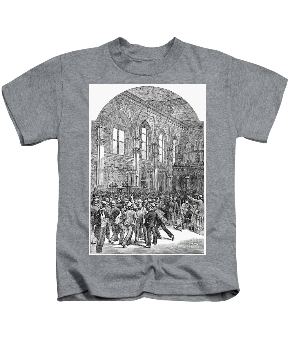 1881 Kids T-Shirt featuring the photograph New York Stock Exchange by Granger