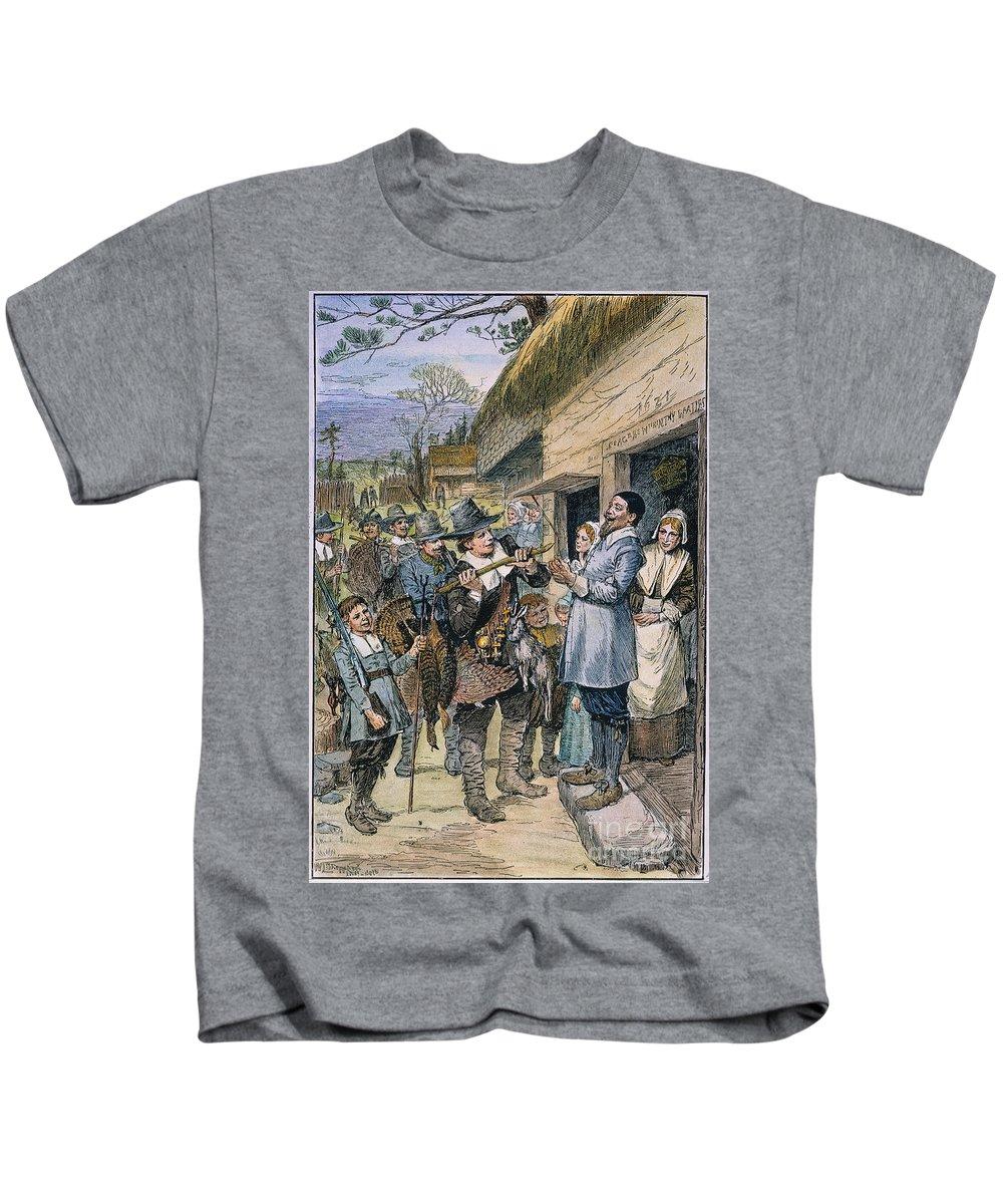 1621 Kids T-Shirt featuring the photograph Pilgrims: Thanksgiving, 1621 by Granger