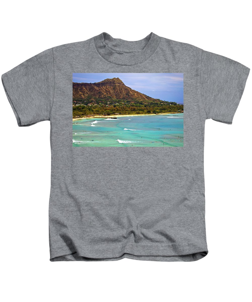 Above Kids T-Shirt featuring the photograph Diamond Head by Tomas del Amo - Printscapes