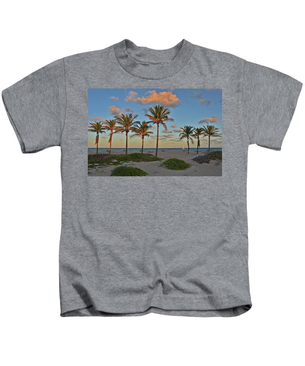 Palm Trees Kids T-Shirt featuring the photograph 39- Evening In Paradise by Joseph Keane