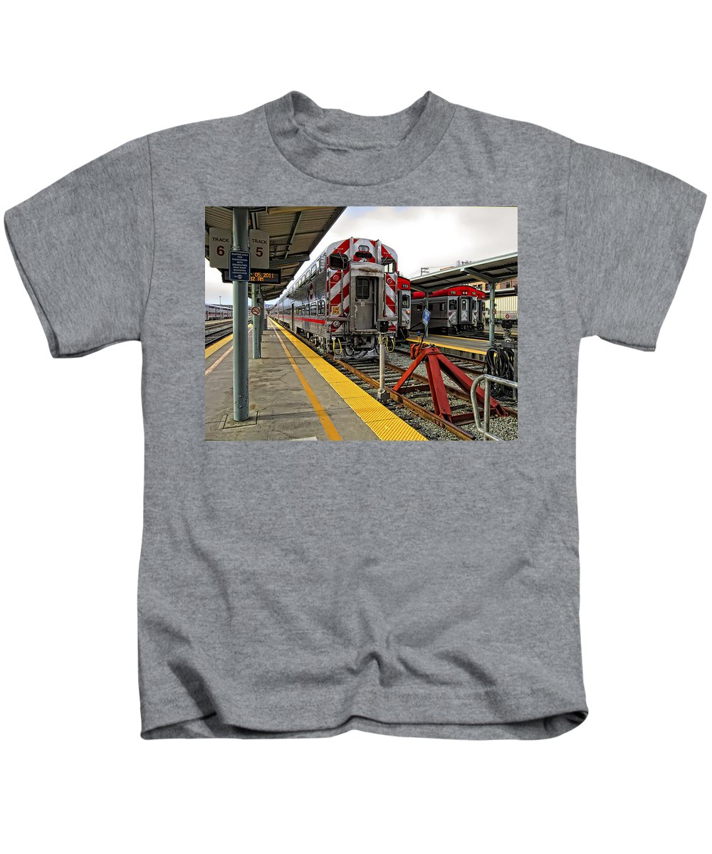 Caltrains Kids T-Shirt featuring the photograph 4th And King St. Caltrains Station - San Francisco by Daniel Hagerman