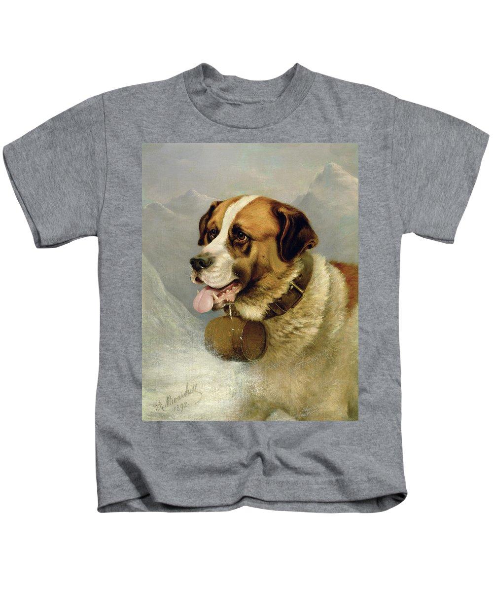 Cask; Dog; Alps Kids T-Shirt featuring the painting A Portrait Of A St. Bernard by James E Bourhill