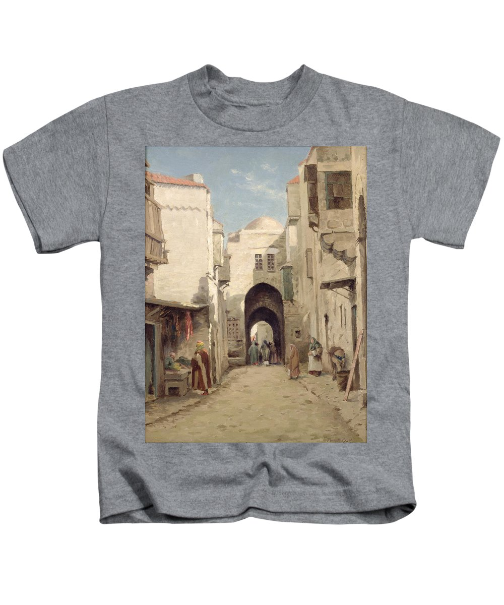 Holy City; Urban; Arch; C19th; C20th; Israeli; Israel; Hanging; Carcass; Meat; Stall Kids T-Shirt featuring the painting A Street In Jerusalem by Percy Robert Craft