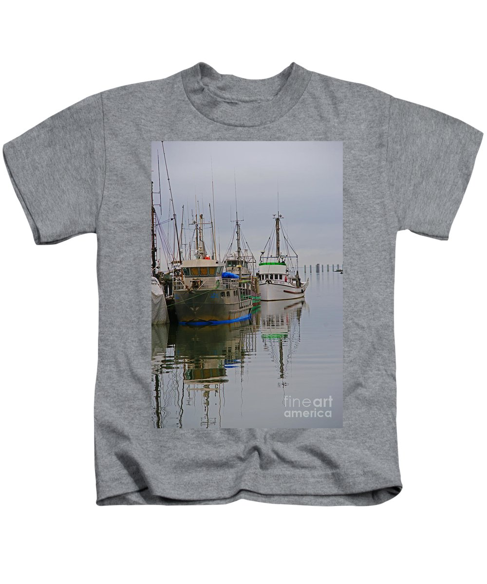 Fishing Boats Kids T-Shirt featuring the photograph A Touch Of Blue And Green by Randy Harris