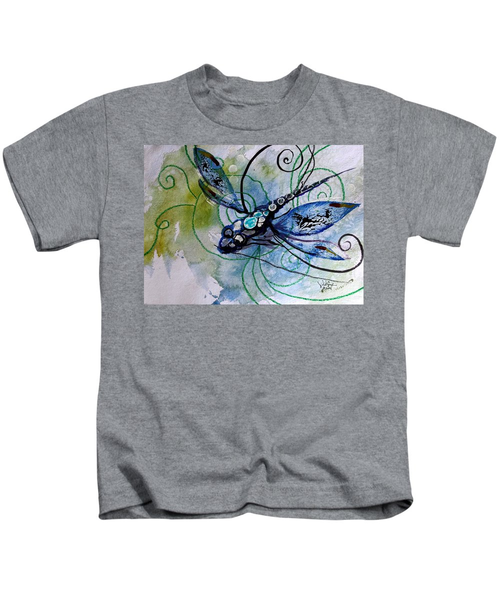 Dragonfly Kids T-Shirt featuring the painting Abstract Dragonfly 10 by J Vincent Scarpace