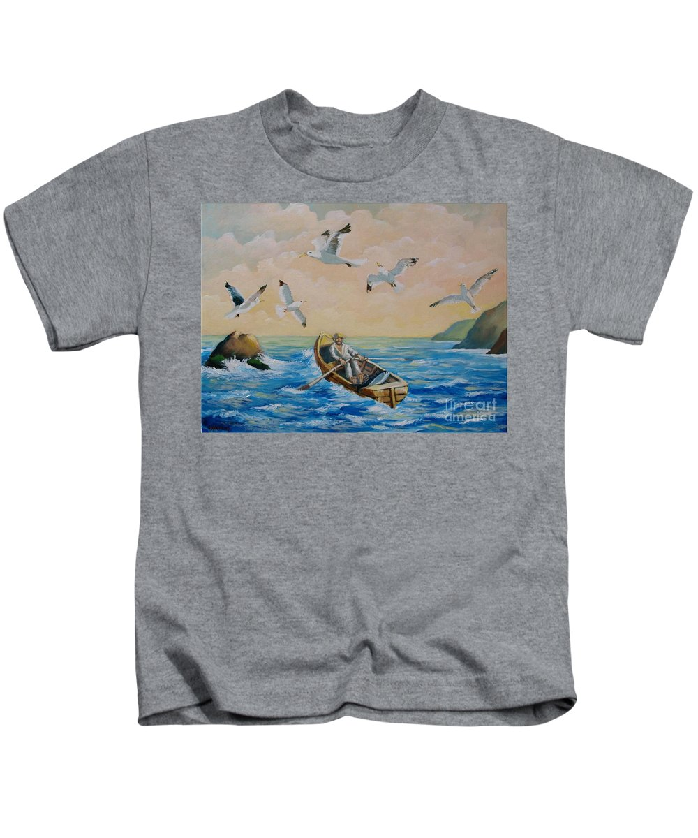 Fisherman Kids T-Shirt featuring the painting After A Fishing Day by Jean Pierre Bergoeing