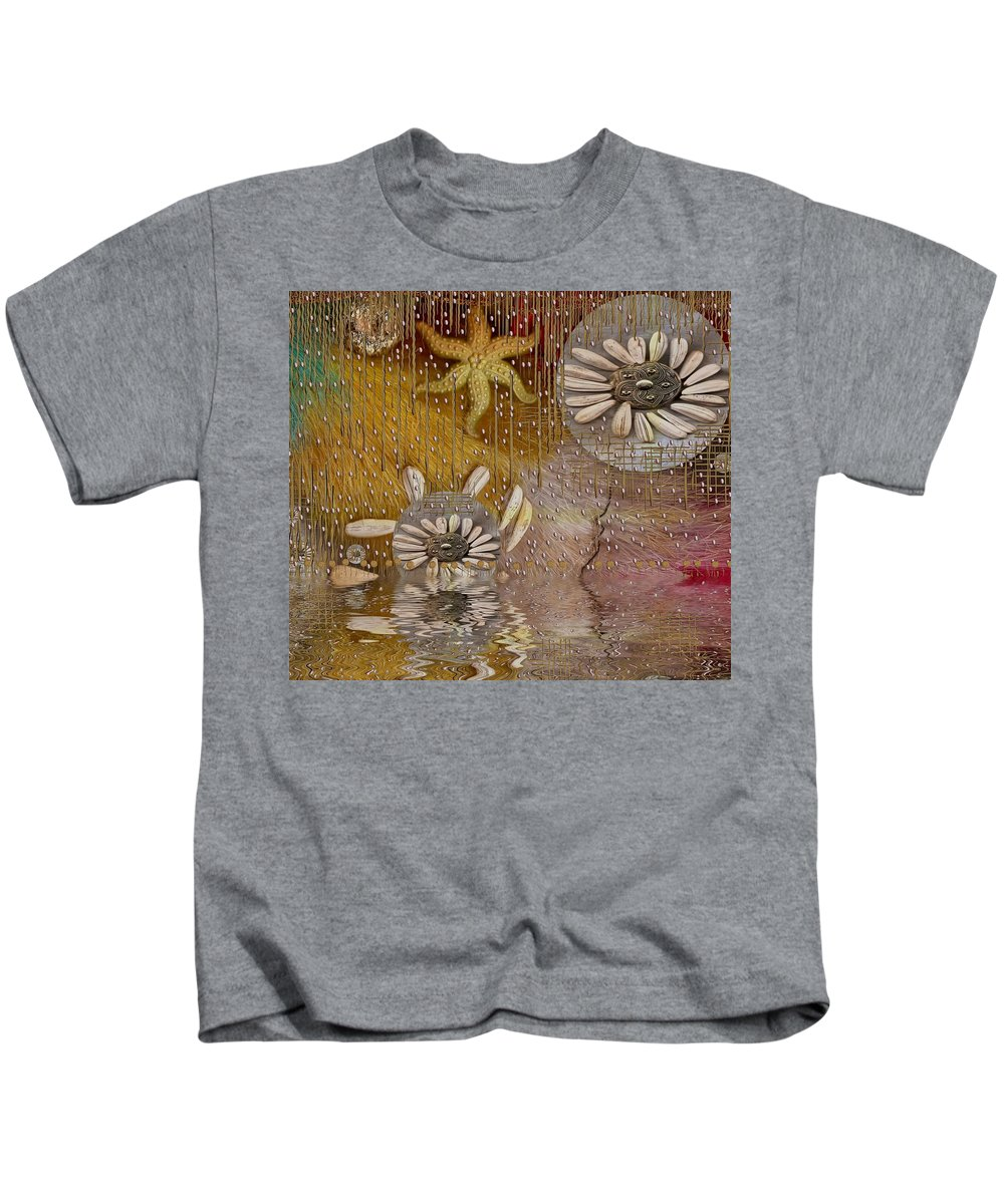 Landscape Kids T-Shirt featuring the mixed media After The Rain Under The Star by Pepita Selles