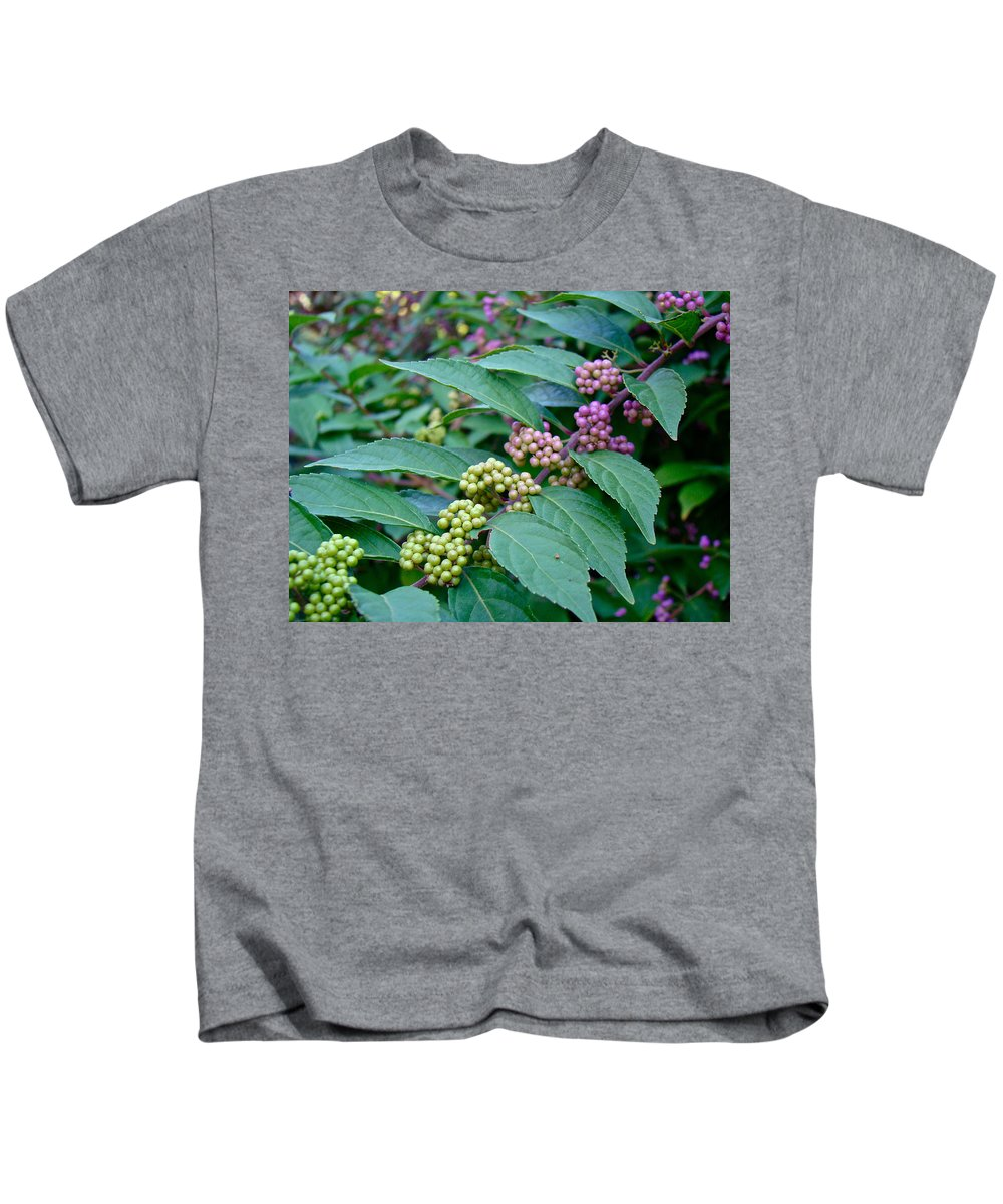 American Beautyberry Kids T-Shirt featuring the photograph American Beautyberry Shrub - Callicarpa Americana by Mother Nature