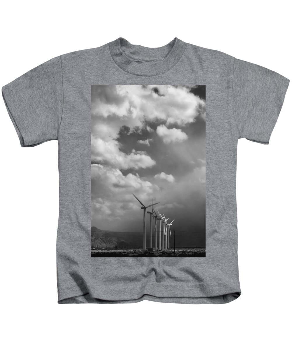 Windmills Kids T-Shirt featuring the photograph Amongst The Clouds Bw by William Dey