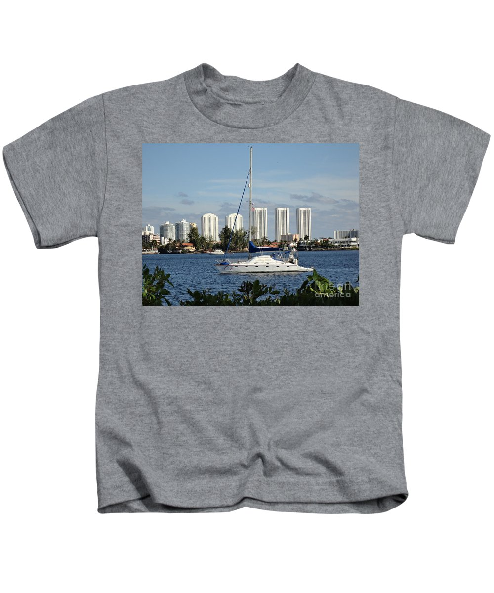 Sailboat Kids T-Shirt featuring the photograph Anchored On Maule Lake by Maria Bonnier-Perez