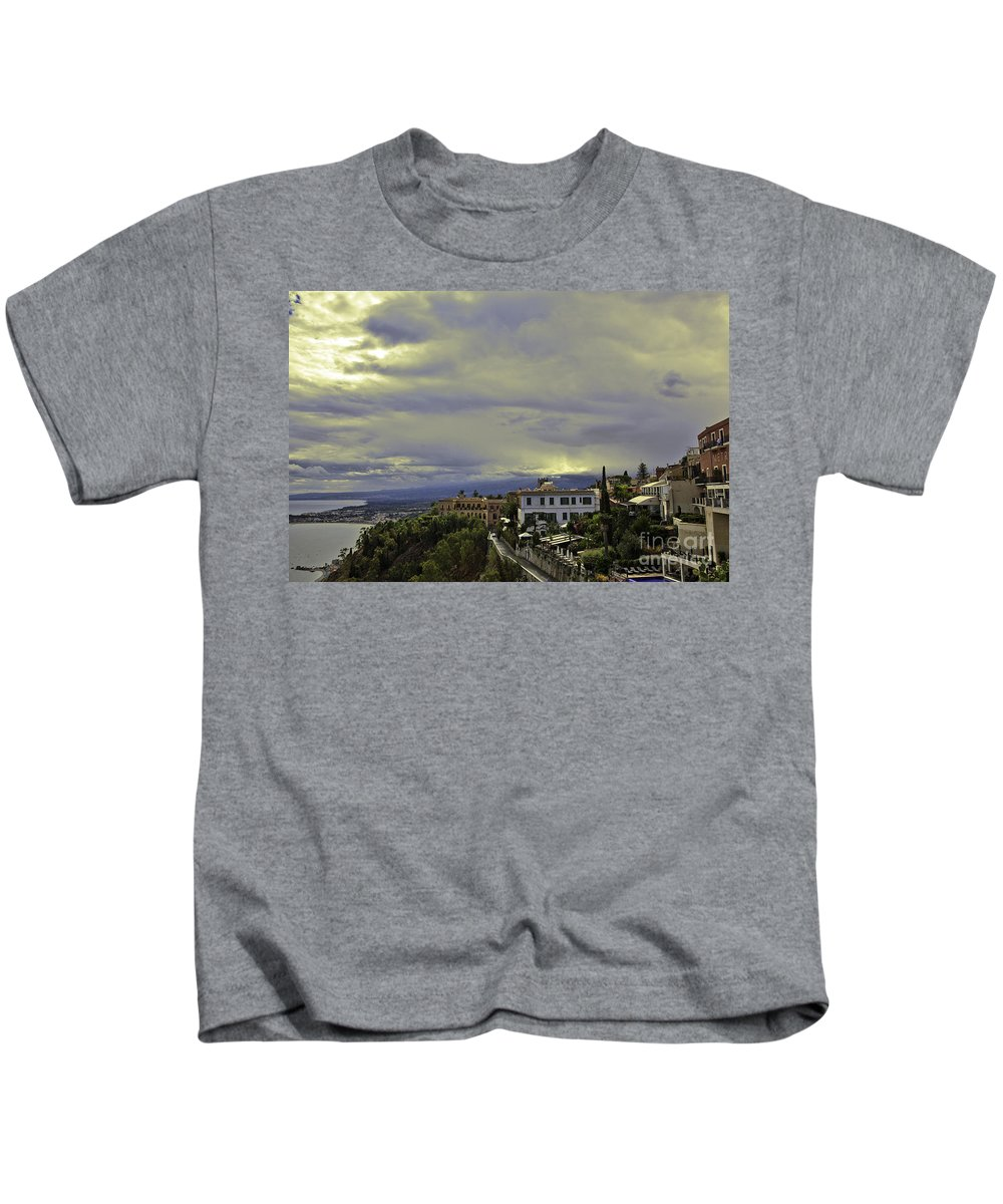Sicily Kids T-Shirt featuring the photograph Approaching Storm - Sicily by Madeline Ellis