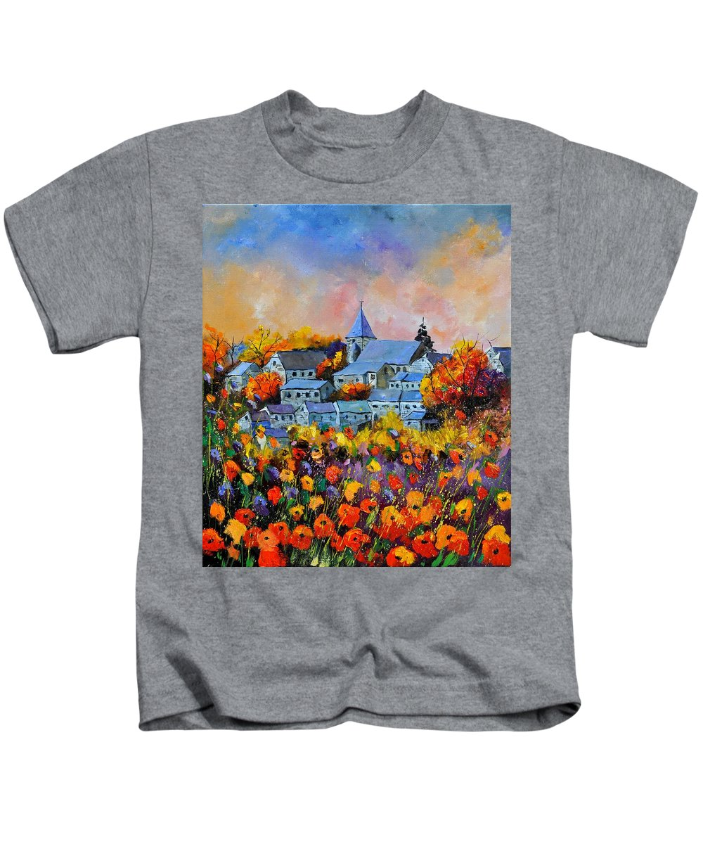 Landscape Kids T-Shirt featuring the painting Autumn in Awagne by Pol Ledent