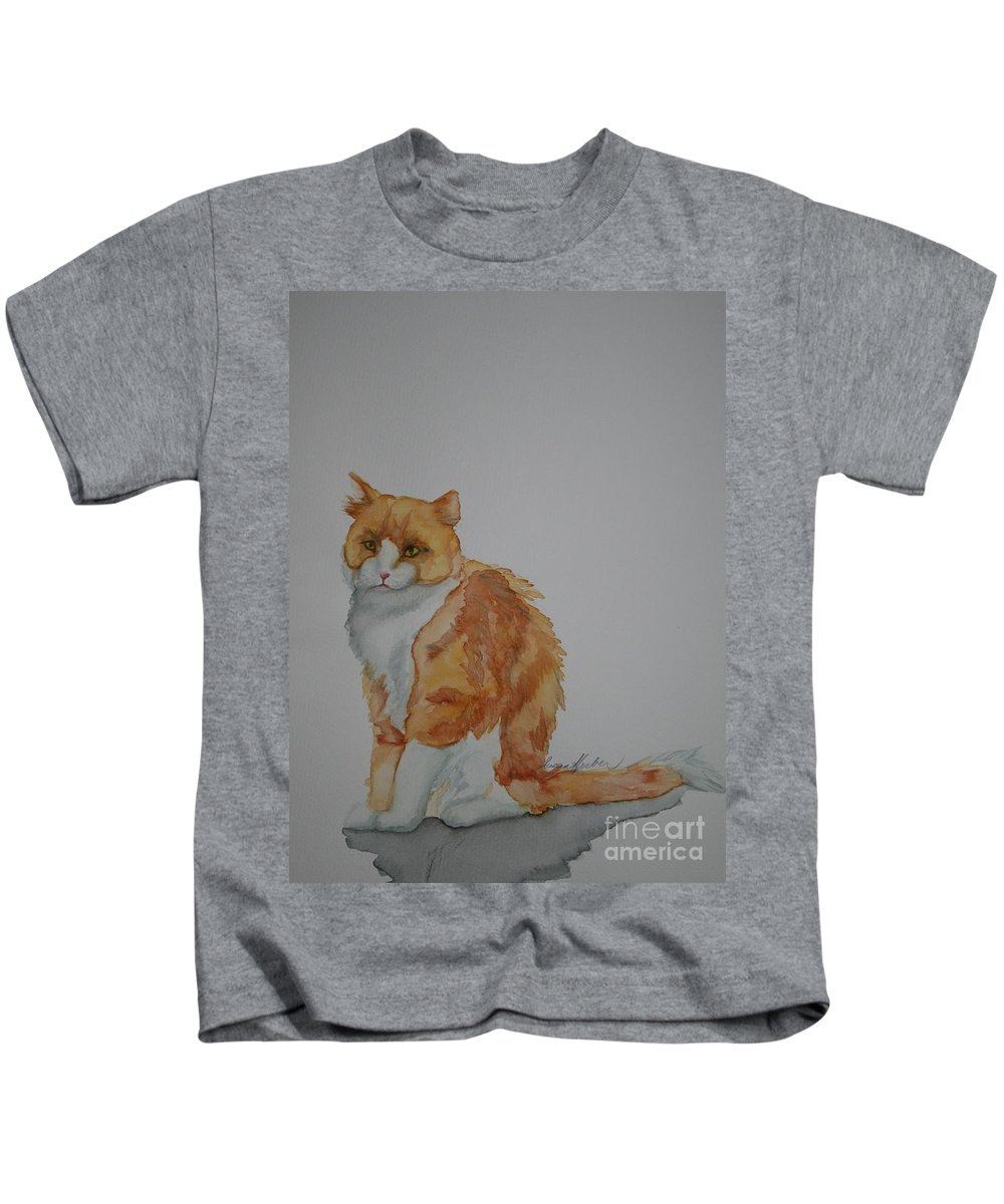 Cat Kids T-Shirt featuring the painting Barn Keeper by Susan Herber