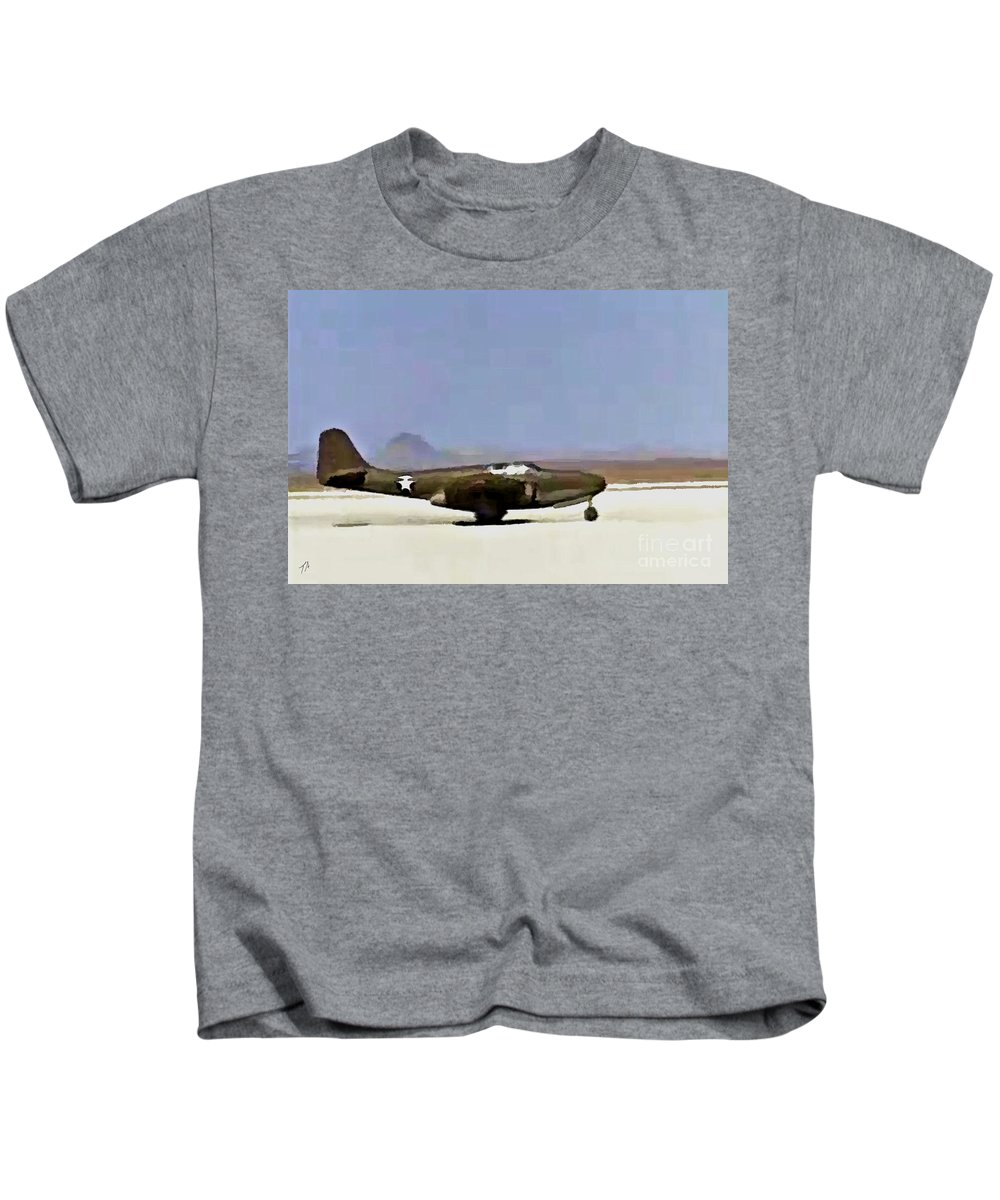 Bell Kids T-Shirt featuring the digital art Bell P-59 Test Flight 1942 by Tommy Anderson