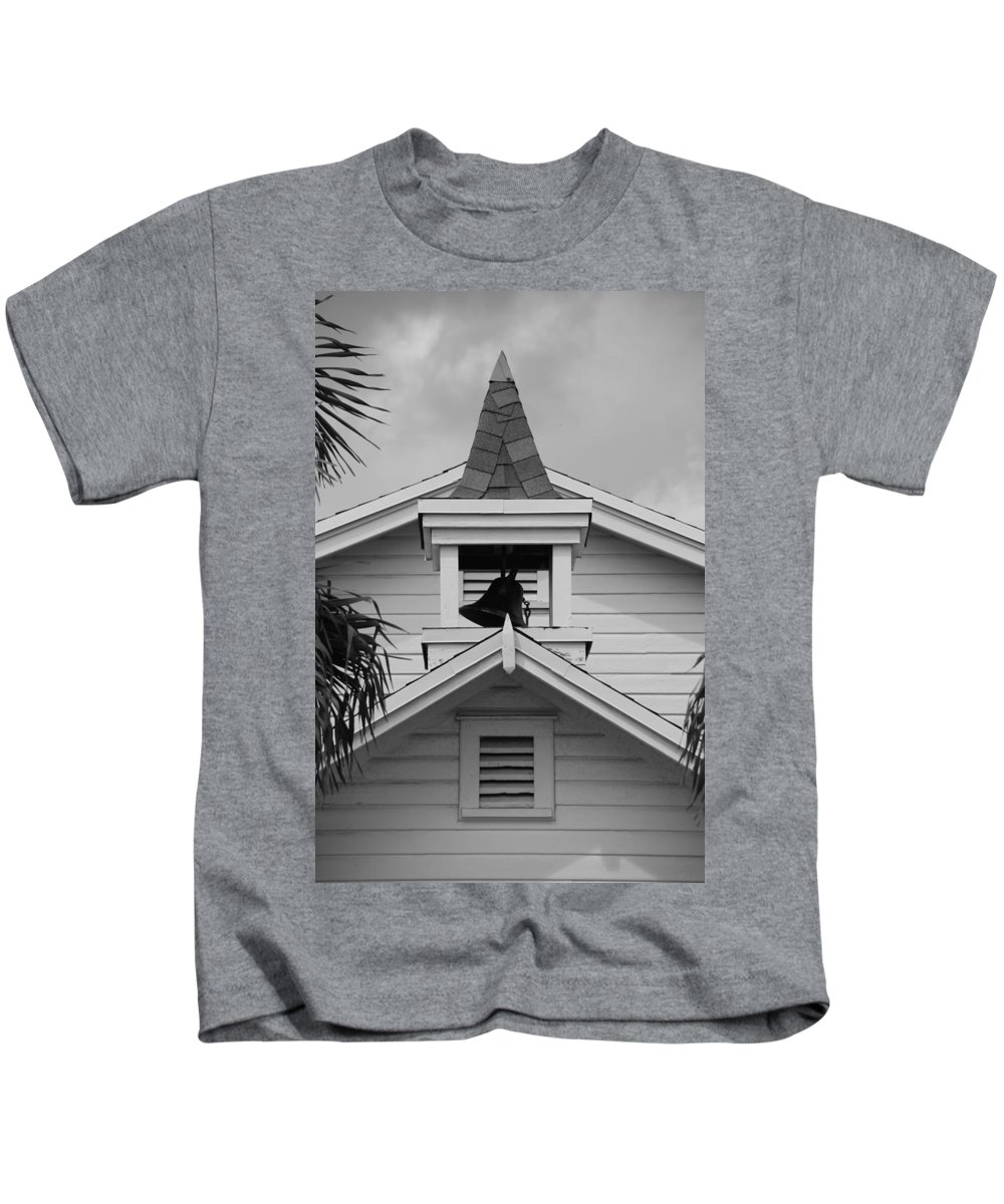 Architecture Kids T-Shirt featuring the photograph Bell Tower In Black And White by Rob Hans