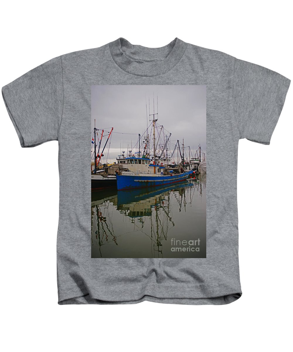 Fishing Boats Kids T-Shirt featuring the photograph Big Blue Fishing Boat by Randy Harris