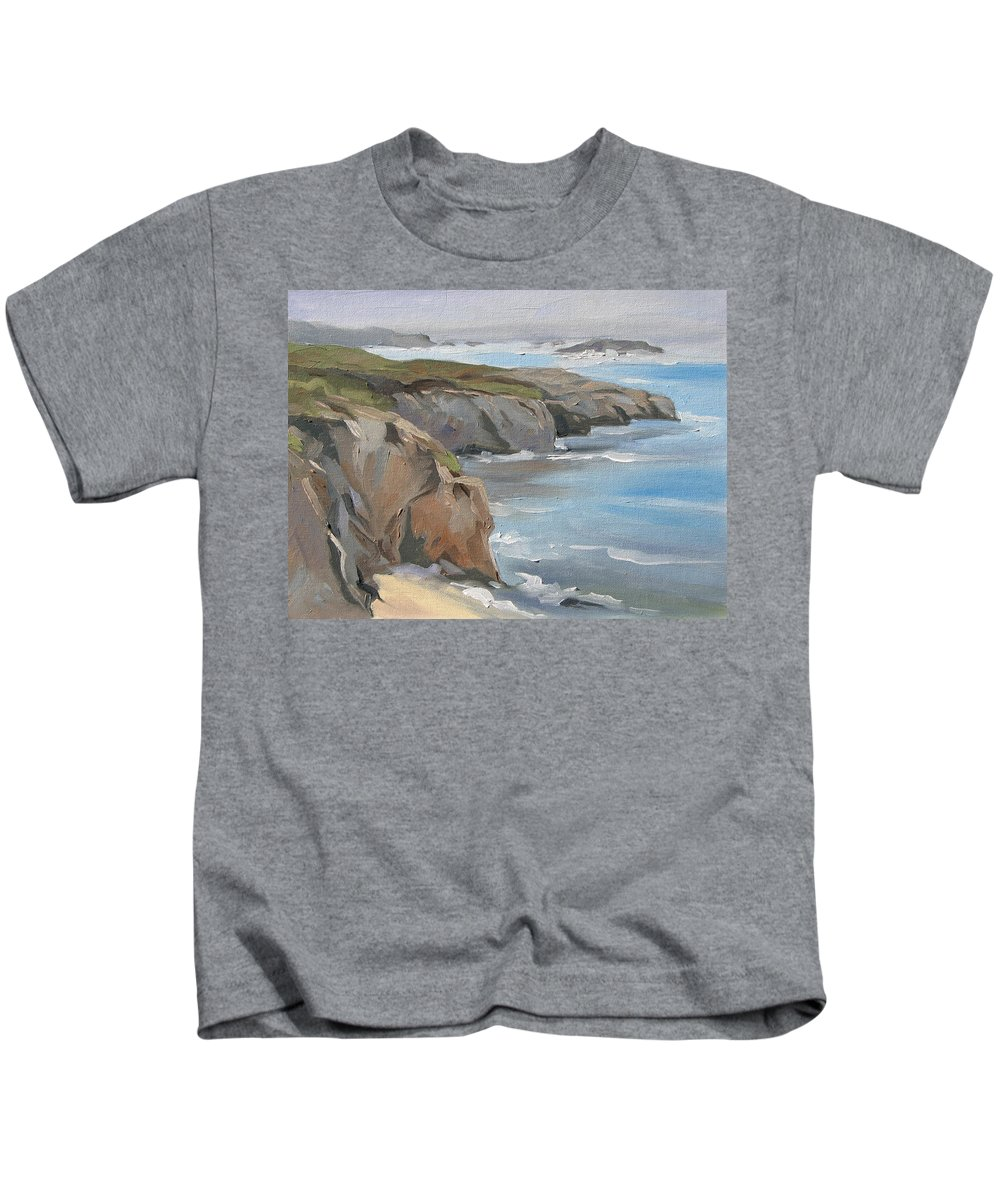 Seascape California Kids T-Shirt featuring the painting Big Sur Study by Jay Johnson