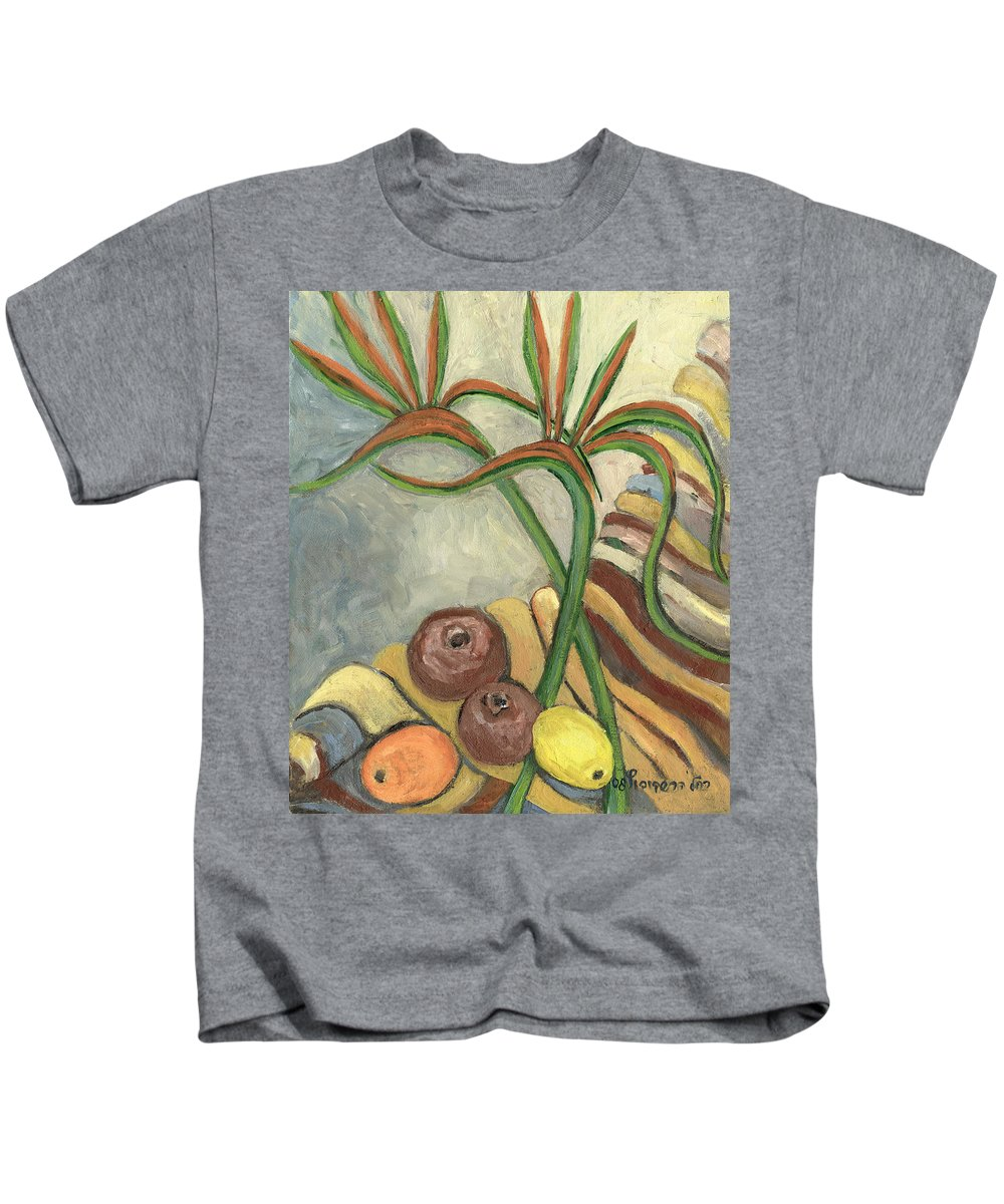 Bird Kids T-Shirt featuring the painting Bird Of Paradise Flowers And Fruits On A Carpet In Yellow Brown Green by Rachel Hershkovitz