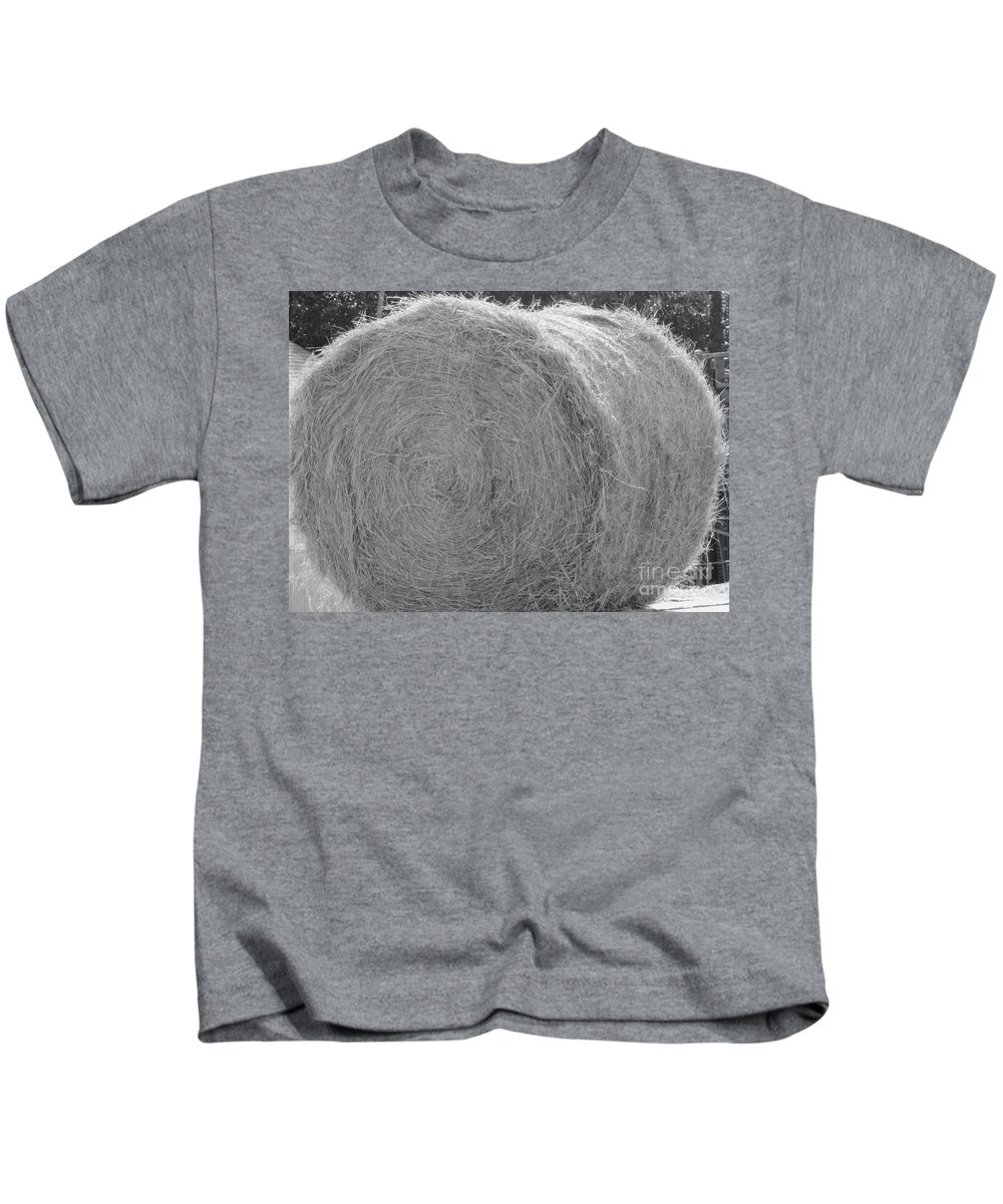 Livestock Kids T-Shirt featuring the photograph Black And White Hay Ball by Michelle Powell