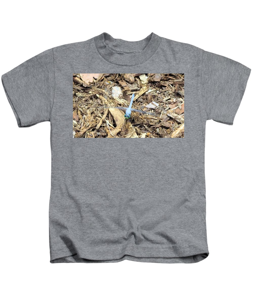 Blue Kids T-Shirt featuring the photograph Blue Dragonfly by Jennifer Stockman