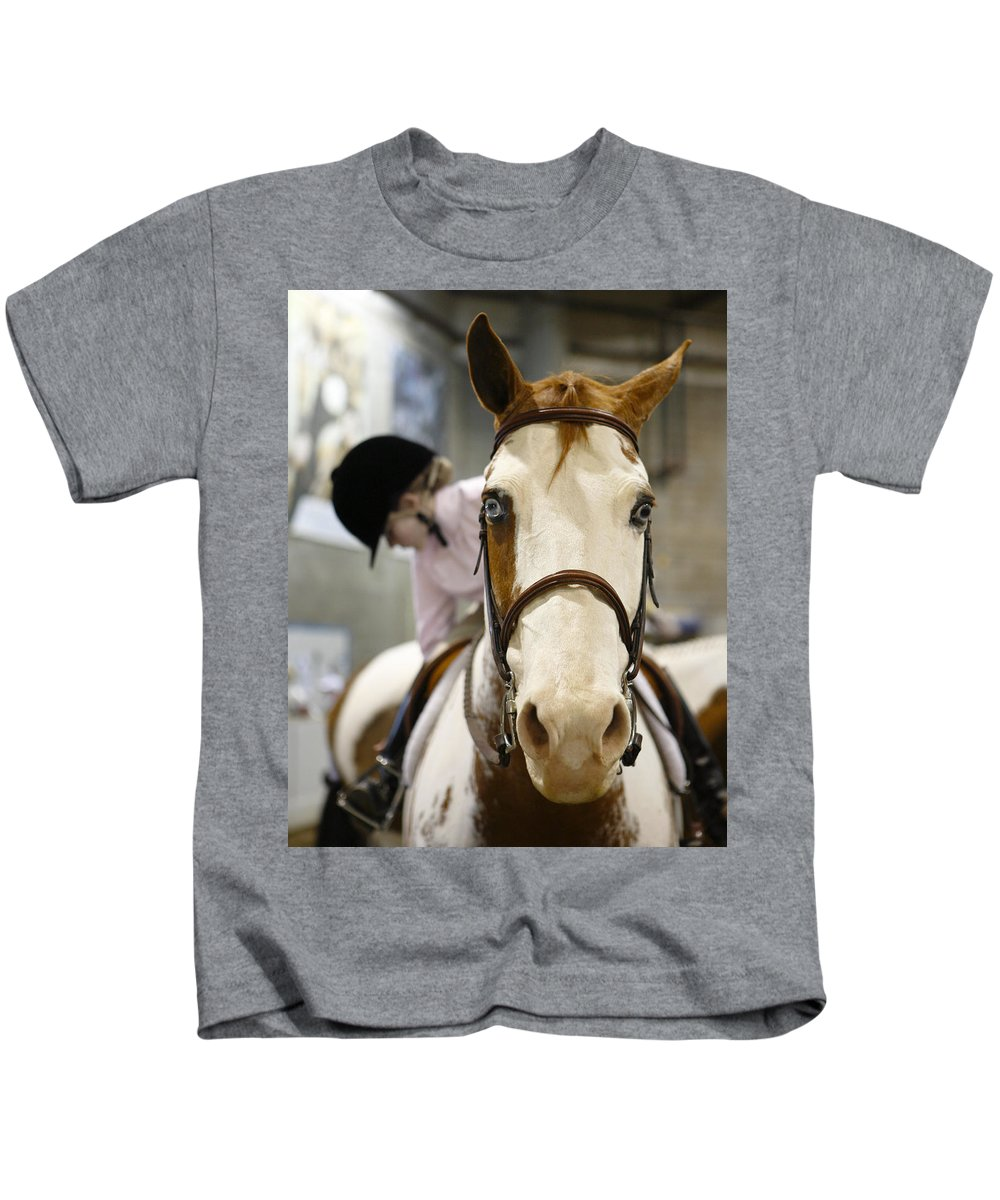 Horse Kids T-Shirt featuring the photograph Blue Eyes by Marilyn Hunt