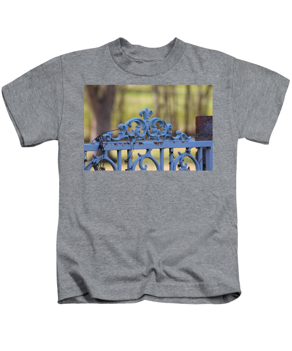 Gate Kids T-Shirt featuring the photograph Blue Gate by Karen Wagner