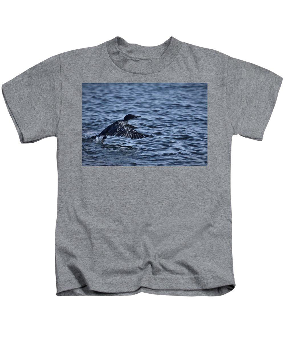 Cormorant Kids T-Shirt featuring the photograph Blue Runway by Douglas Barnard