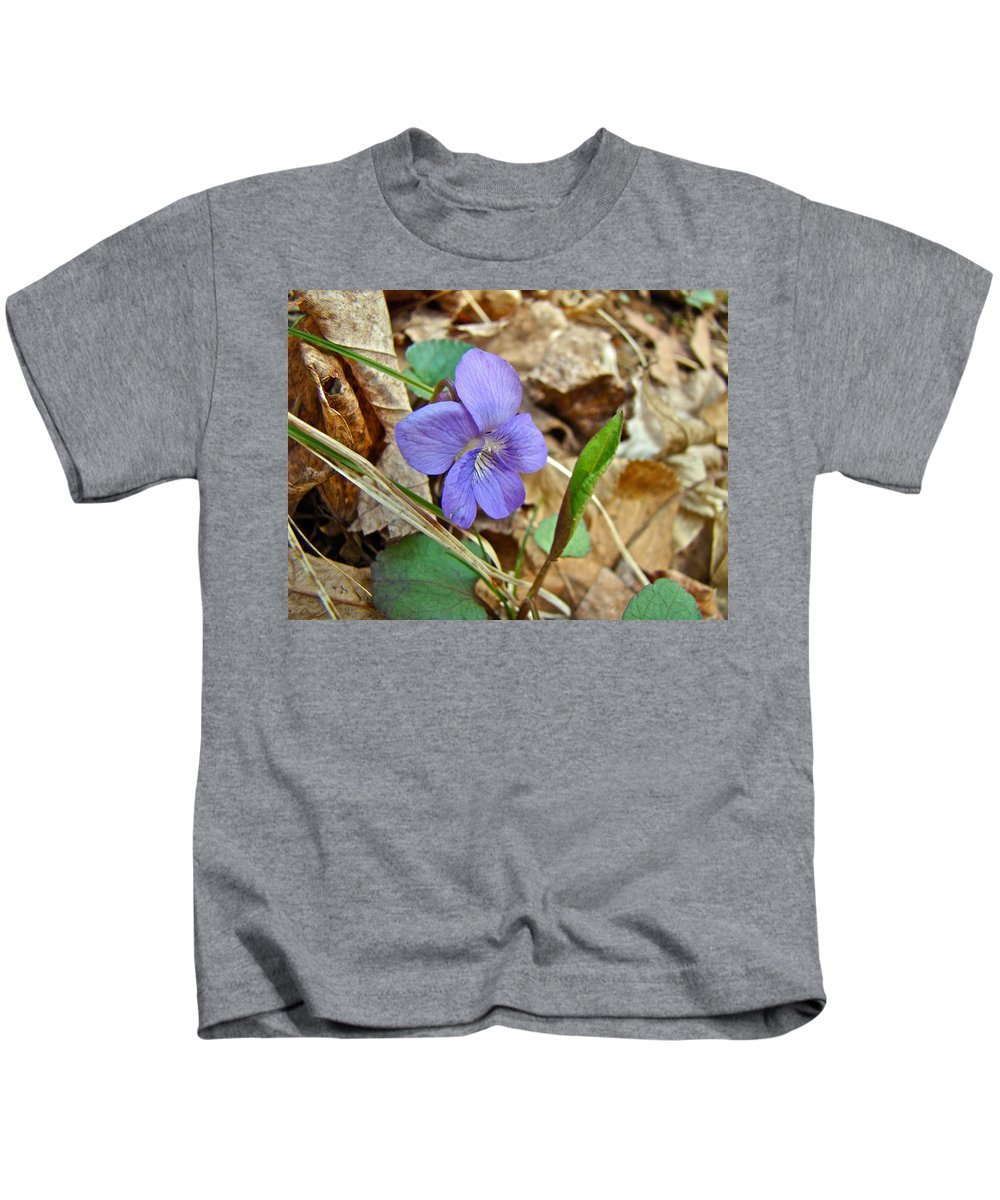 Wildflower Kids T-Shirt featuring the photograph Blue Violet Wildflower - Viola Spp by Mother Nature