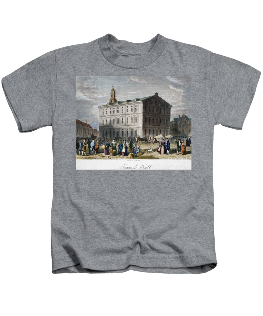 1776 Kids T-Shirt featuring the photograph Boston: Faneuil Hall, 1776 by Granger