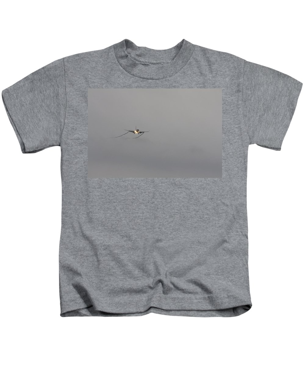 American Airlines-the Boeing 7 Series Kids T-Shirt featuring the photograph Breaking Through The Cloud by Douglas Barnard