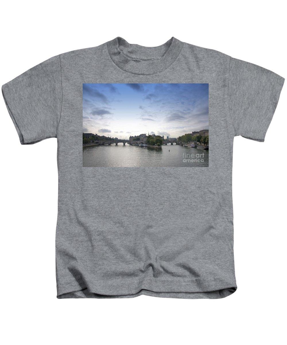 Paris Kids T-Shirt featuring the photograph Bridges On River Seine. Paris. France by Bernard Jaubert