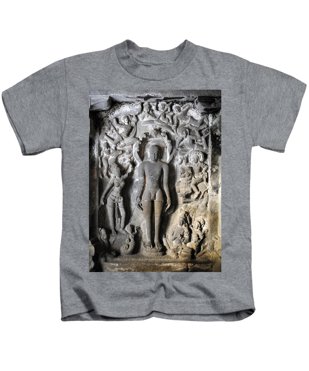 Caves Kids T-Shirt featuring the photograph Buddha At Elora Caves India by Sumit Mehndiratta