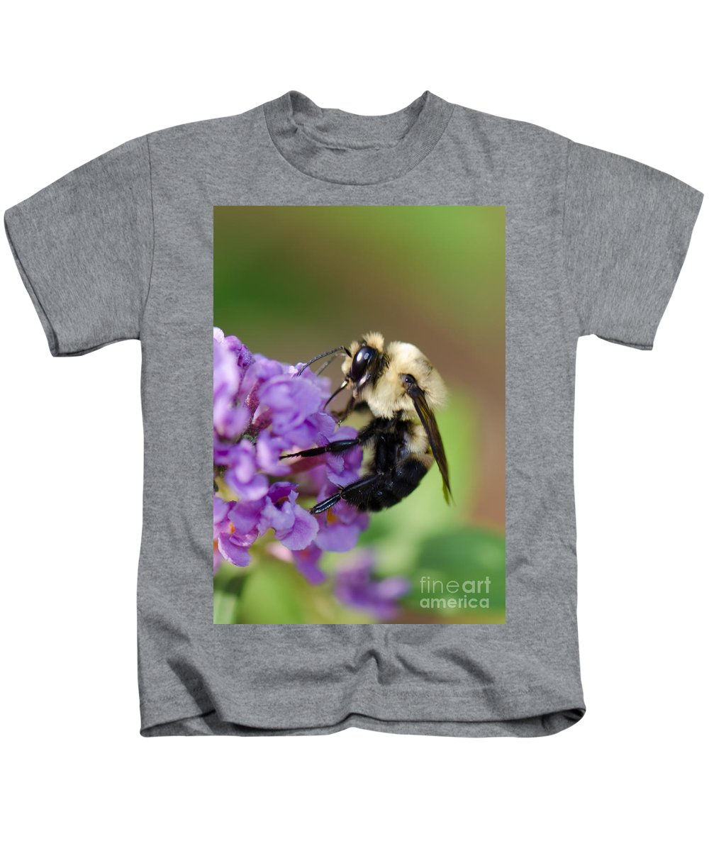 Bumble Bee Kids T-Shirt featuring the photograph Bumblebee 2 by Betty LaRue