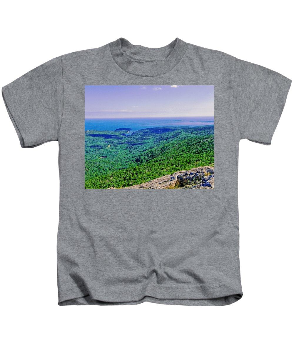 Mountain Kids T-Shirt featuring the photograph Cadillac Mt Mt Desert Island Me Ocean View by Lizi Beard-Ward
