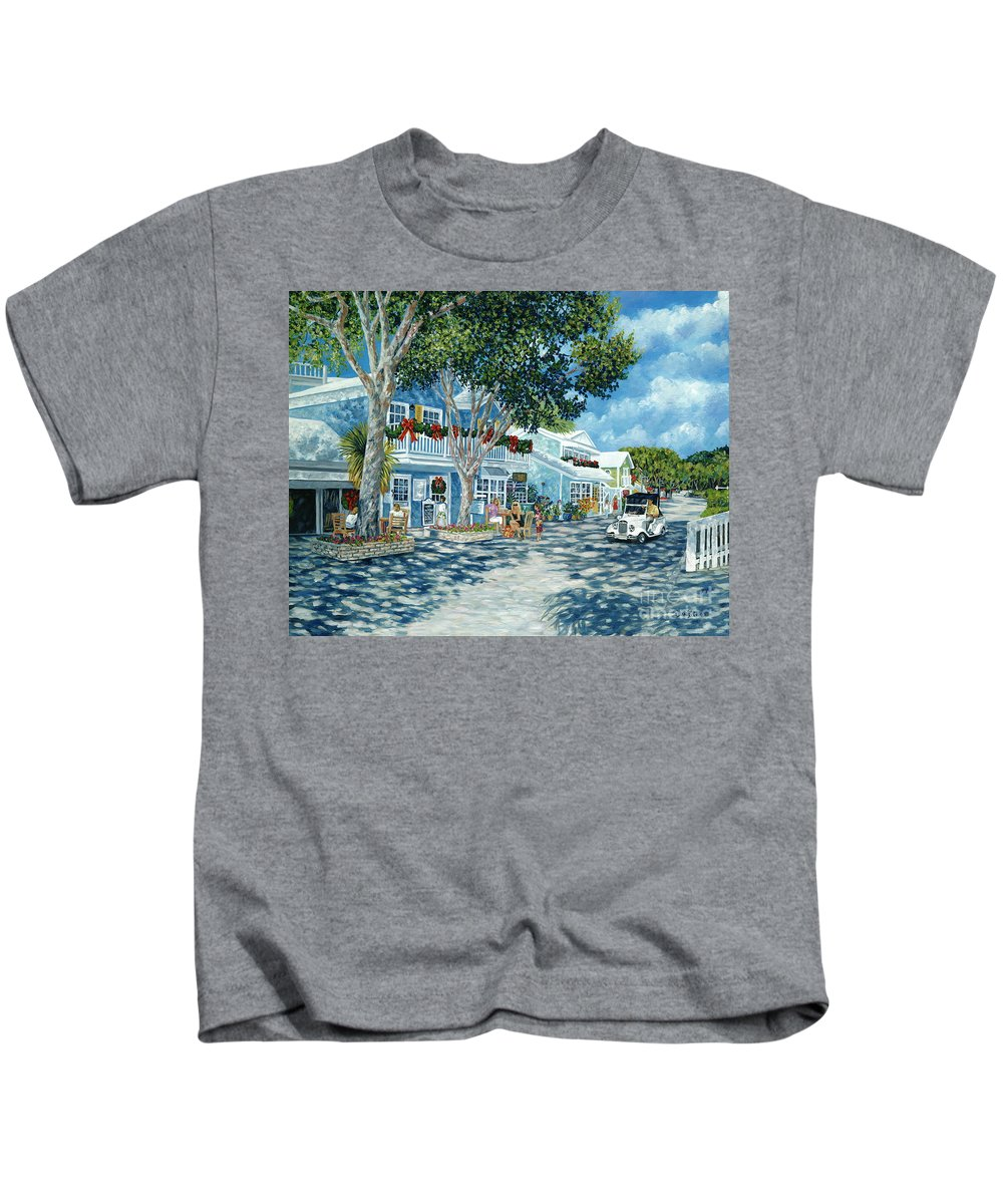 Ocean Reef Club Kids T-Shirt featuring the painting Cafe Des Artistes by Danielle Perry