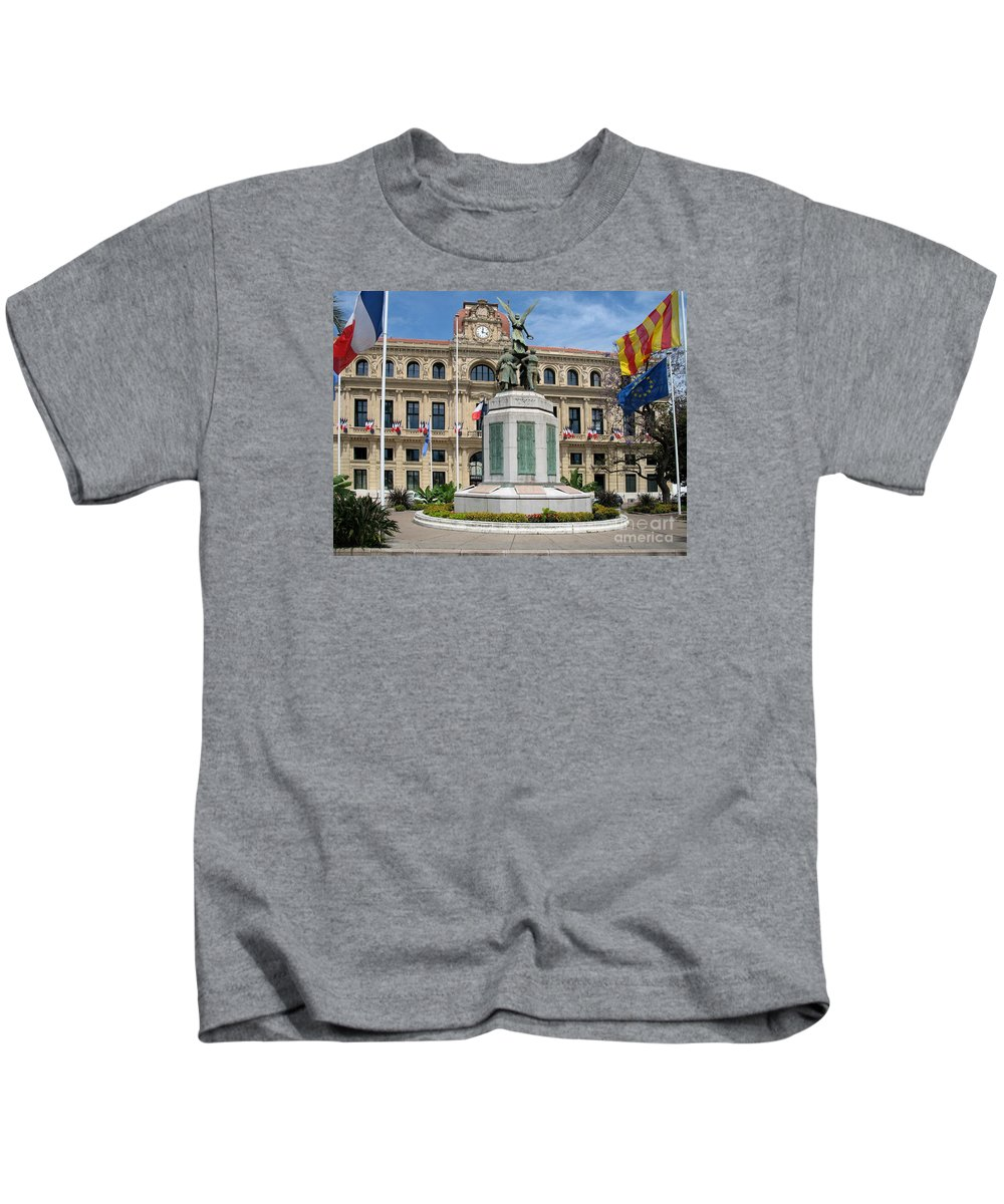 Cannes Kids T-Shirt featuring the photograph Cannes City Hall by Christiane Schulze Art And Photography