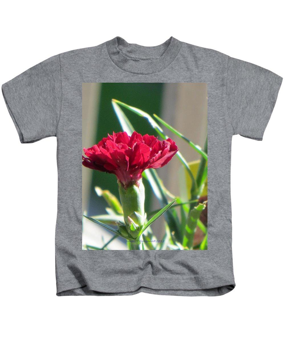 Carnation Kids T-Shirt featuring the photograph Carnation Named Hounsa by Sonali Gangane