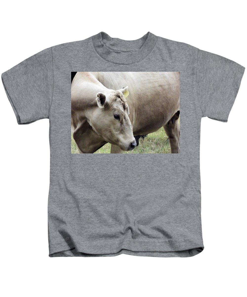 Cow Kids T-Shirt featuring the photograph Catch My Good Side by Jennifer Stockman